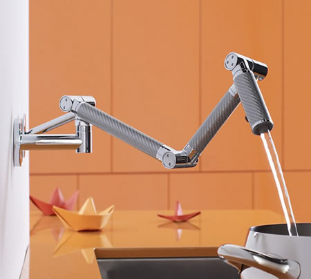 Kohler Karbon wall-mount kitchen faucet is a beauty