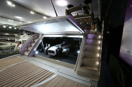 Sunseeker's Predator 108 Special Edition debuts with a Caterham Seven in its ...