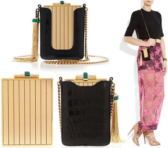 Gucci Garcon gold-tone clutch with crocodile pouch is petite and posh