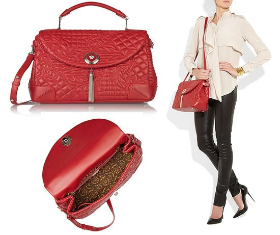 Versace Baroque Quilted Leather Tote is red hot