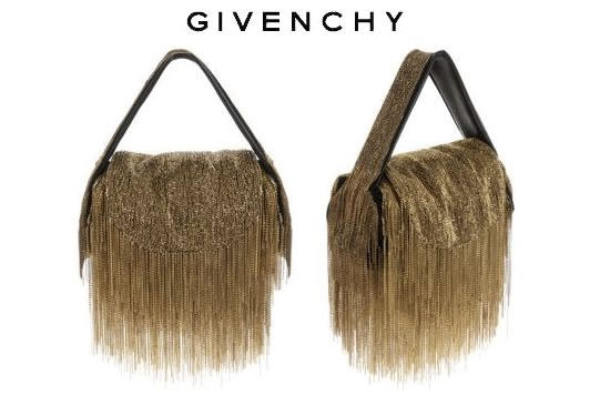 Givenchy's Embroidered Metal Chain Evening Bag blushes with gold fringe.