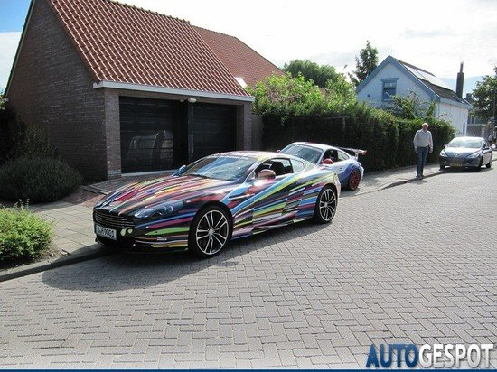 Aston Martin Carbon Black DBS gets a colorful makeover by Jeff Koons