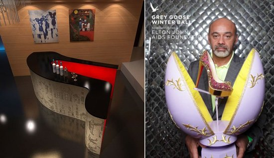 Christian Louboutin designs a stiletto shaped cocktail bar for Grey Goose Winter Ball