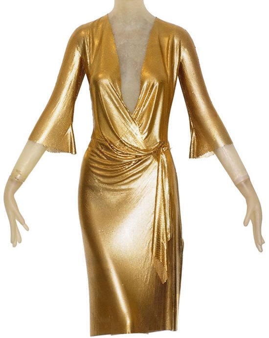 Gianni Versaces Gold Draped 'Oroton' dress to go gold bold