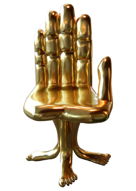Gold Leafed Hand And Foot Sculptural Chair 1.