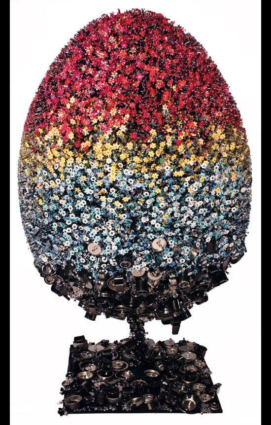 Mary Katrantzou's Teflon egg for the Fabergé Big Egg Hun turns up at May Fair Hotel
