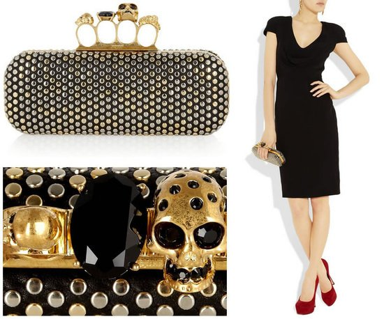 McQueens Swarovski studded skull knuckle box clutch is wickedly beautiful