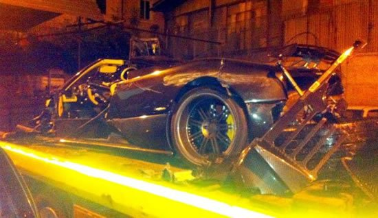 Worlds most expensive car crash   A Pagani Zonda F Clubsport Roadster met with an accident