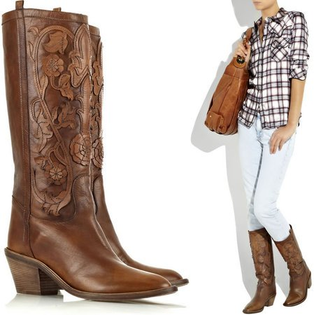 Leather appliqué cowboy boots from Roberto Cavalli: Chic footwear for the country chick