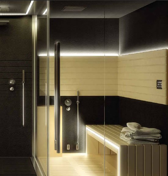 a designer jacuzzi sasha home spa combines a sauna shower and a hammam for a complete. Black Bedroom Furniture Sets. Home Design Ideas