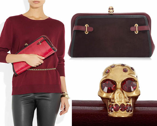 Alexander McQueen convertible suede and snake clutch