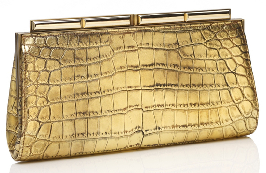 Judith Leiber Aurelie Crocodile Handbag in Antique Gold