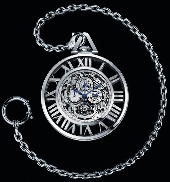 Cartier Grand Complication Skeleton pocket watch shines in white gold