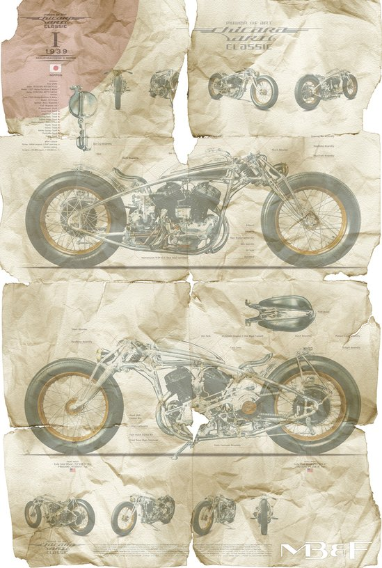Hand crafted Chicara Art motorcycles by Japanese artist Chicara Nagata to be sold