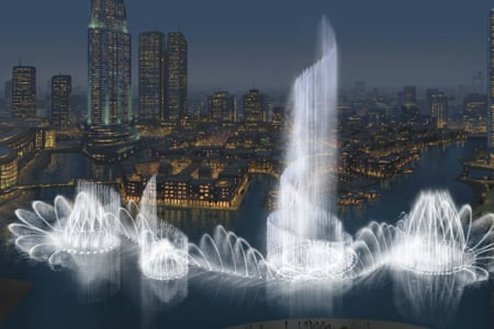 Worlds Largest Water Fountain In Dubai Dwarfs The Bellagio