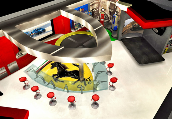 Ferrari themed garage features a real Ferrari racing simulator