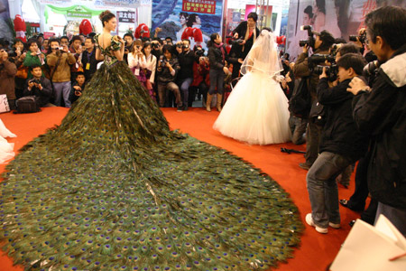 $1.5 million wedding dress boasts of 2009 Peacock tail feathers