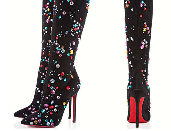 Christian Louboutin Pigalle Botta Strass boots
