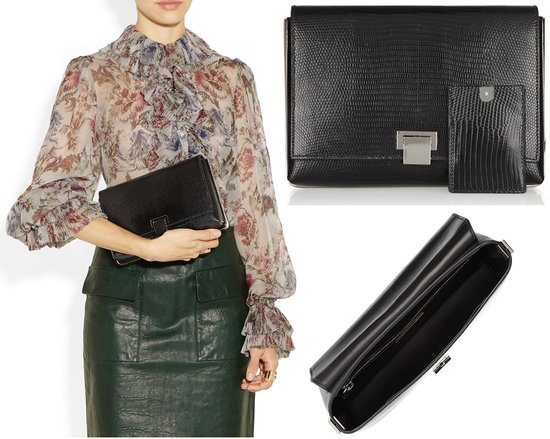 Metal framed lizard clutch by The Row