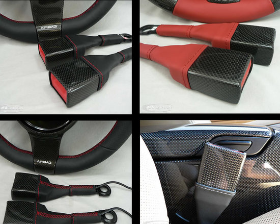 seat belt buckle receptacles dress up in carbon fiber and