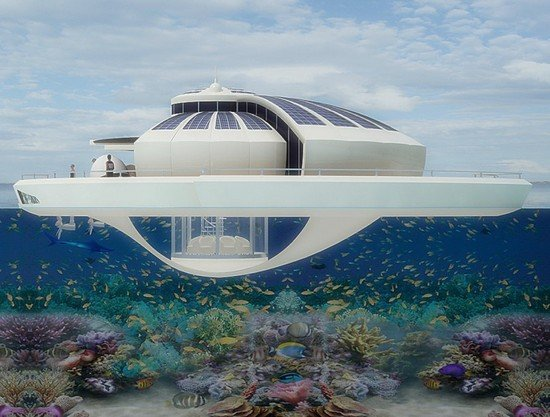 Solar Floating Resort is conceptualized with an underwater observation bulb