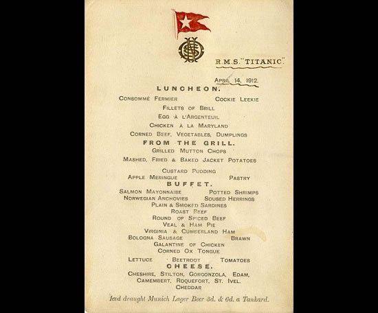 Titanics last lunch menu may fetch £100,000 at auction
