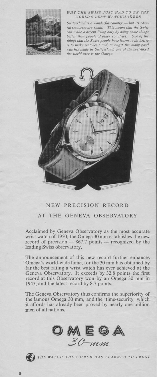 Vintage Ads Omega 30mm In 1951 Life Magazine