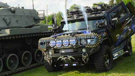 Hummer H2 strapped with weapons is up for sale