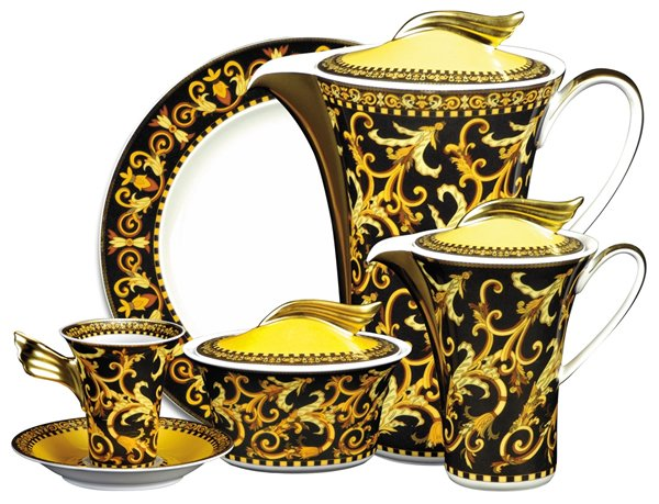 This Barocco 21 Piece Coffee Set Is A Blend Of Gold And Black And Includes  Six Cake Plates, Six Tall Coffee Cups And Saucers, A 1.2 Litre Coffee Pot,  ...