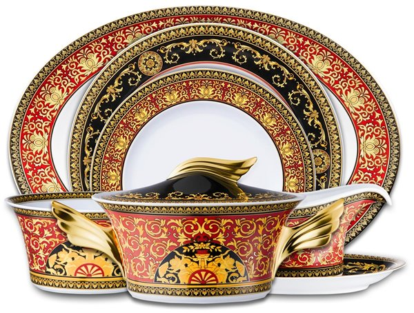 The Medusa Red Dinner Service Is In The Brandu0027s Signature OTT Print With  Intricate Gold Detailing. This 22 Piece Dinner Service, Priced At $3490, ...