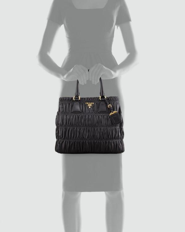 prada replica handbags cheap - Prada white canvas tote for the day and black leather tote for the ...